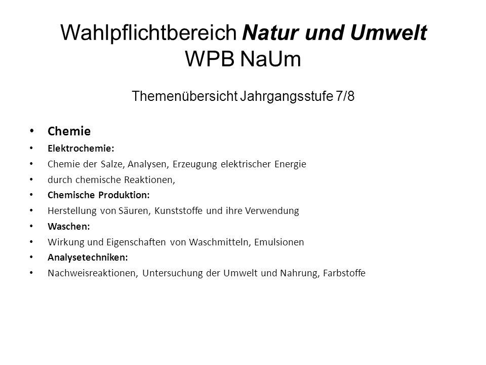 Wahlpflichtbereich Natur und Umwelt WPB NaUm Themenübersicht Jahrgangsstufe 7/8 Chemie Elektrochemie: Chemie der Salze, Analysen, Erzeugung elektrisch