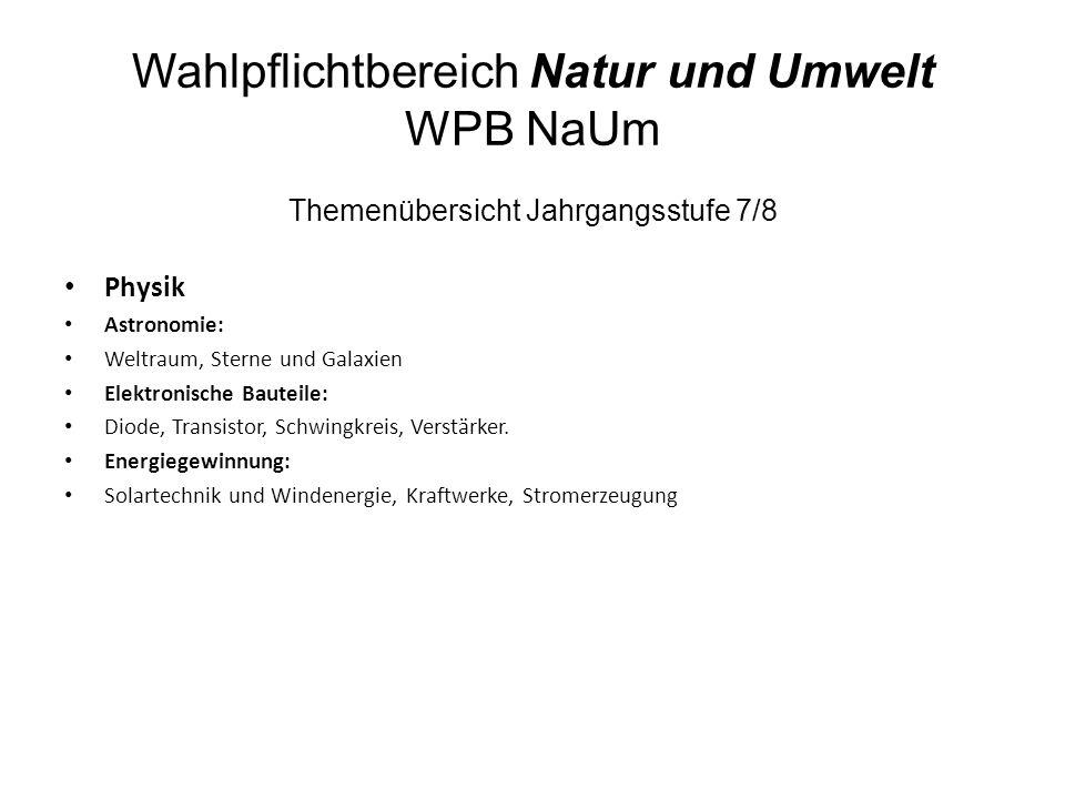 Wahlpflichtbereich Natur und Umwelt WPB NaUm Themenübersicht Jahrgangsstufe 7/8 Physik Astronomie: Weltraum, Sterne und Galaxien Elektronische Bauteil