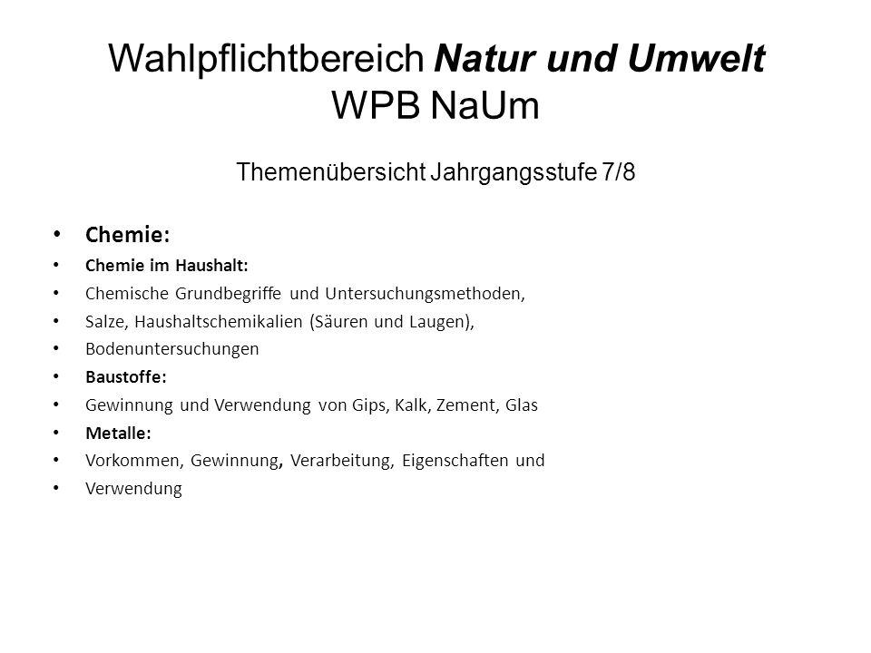 Wahlpflichtbereich Natur und Umwelt WPB NaUm Themenübersicht Jahrgangsstufe 7/8 Chemie: Chemie im Haushalt: Chemische Grundbegriffe und Untersuchungsm