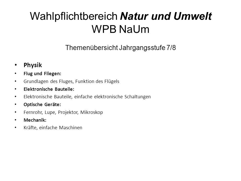 Wahlpflichtbereich Natur und Umwelt WPB NaUm Themenübersicht Jahrgangsstufe 7/8 Physik Flug und Fliegen: Grundlagen des Fluges, Funktion des Flügels E