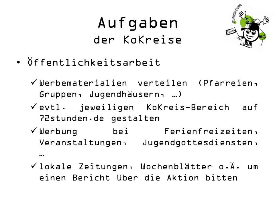 Aufgaben der KoKreise Öffentlichkeitsarbeit Werbematerialien verteilen (Pfarreien, Gruppen, Jugendhäusern, …) evtl.