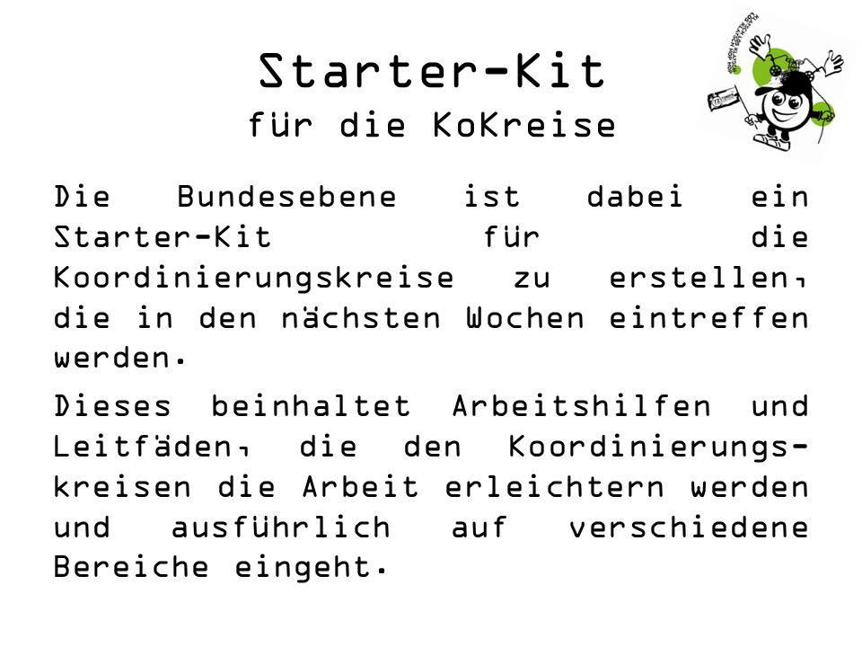 Starter-Kit für die KoKreise Die Bundesebene ist dabei ein Starter-Kit für die Koordinierungskreise zu erstellen, die in den nächsten Wochen eintreffen werden.