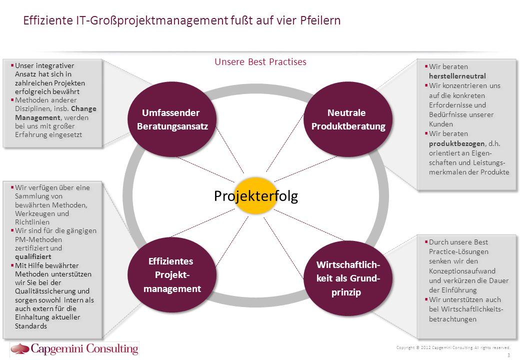 Capgeminis umfassender Beratungsansatz kann alle Herausforderungen berücksichtigen Copyright © 2012 Capgemini Consulting.