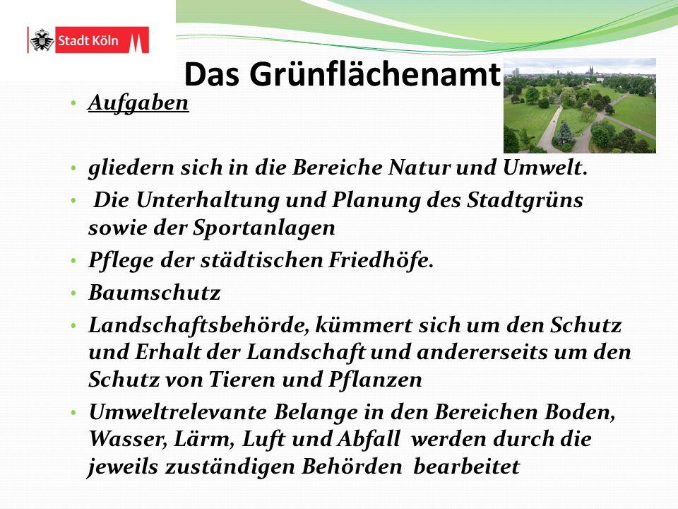 Das Grünflächenamt Aufgaben gliedern sich in die Bereiche Natur und Umwelt. Die Unterhaltung und Planung des Stadtgrüns sowie der Sportanlagen Pflege