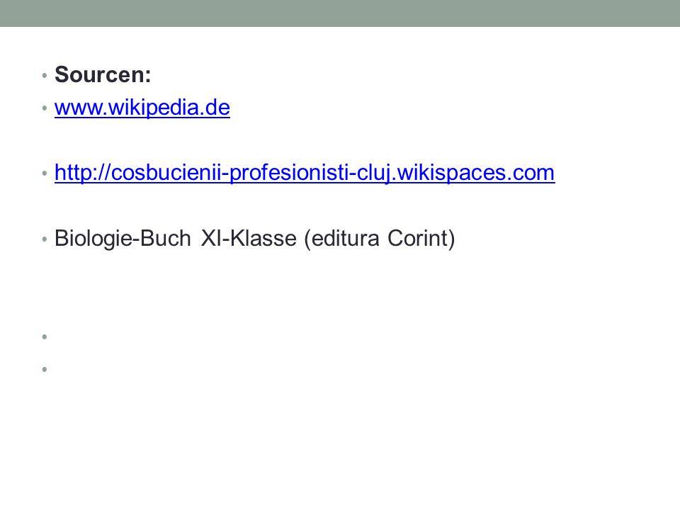Sourcen: www.wikipedia.de http://cosbucienii-profesionisti-cluj.wikispaces.com Biologie-Buch XI-Klasse (editura Corint)