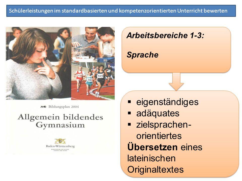 Schülerleistungen im standardbasierten und kompetenzorientierten Unterricht bewerten Arbeitsbereiche 1-3: Sprache Arbeitsbereiche 1-3: Sprache eigenst