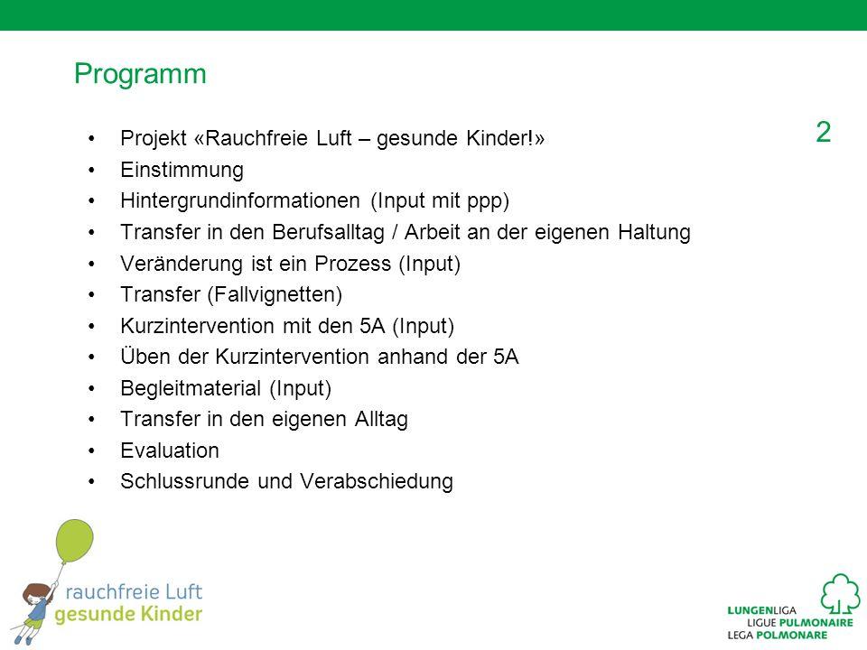 2 Programm Projekt «Rauchfreie Luft – gesunde Kinder!» Einstimmung Hintergrundinformationen (Input mit ppp) Transfer in den Berufsalltag / Arbeit an d