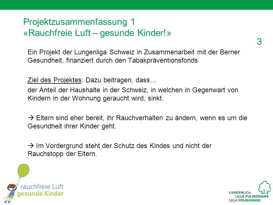 3 Projektzusammenfassung 1 «Rauchfreie Luft – gesunde Kinder!» Ein Projekt der Lungenliga Schweiz in Zusammenarbeit mit der Berner Gesundheit, finanzi