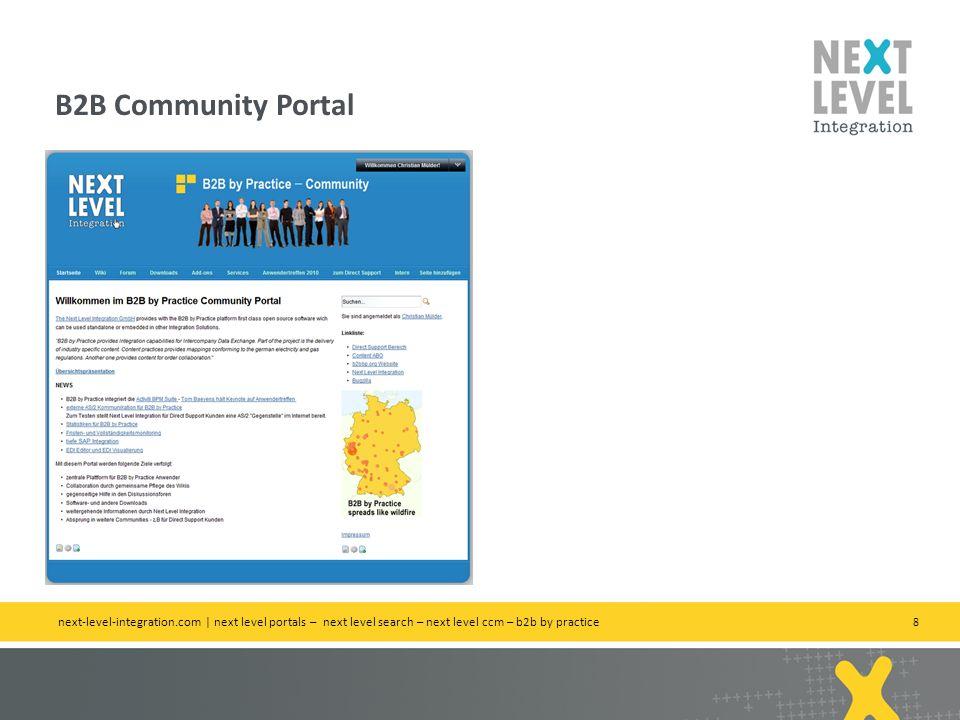8 B2B Community Portal next-level-integration.com | next level portals – next level search – next level ccm – b2b by practice