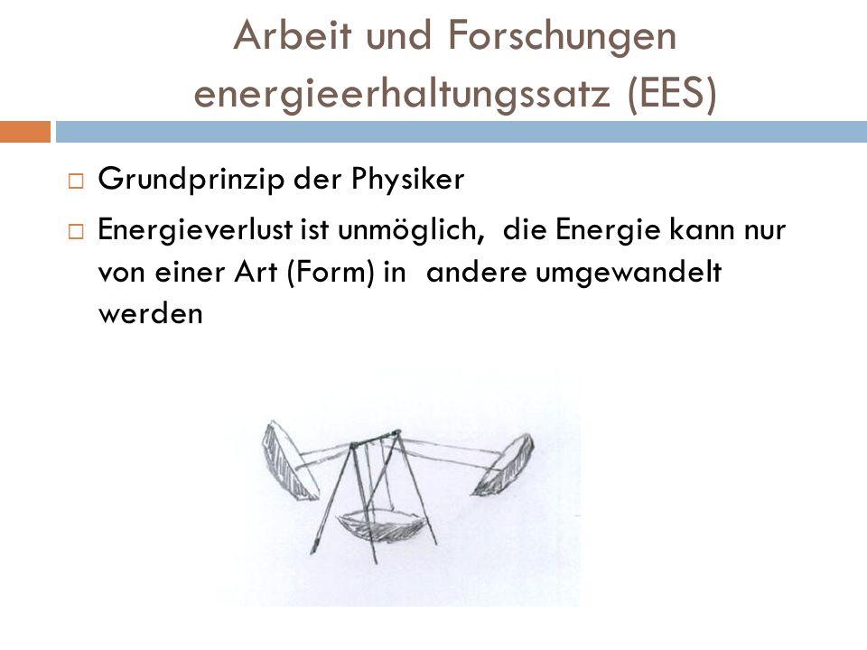 Arbeit und Forschungen energieerhaltungssatz (EES) Grundprinzip der Physiker Energieverlust ist unmöglich, die Energie kann nur von einer Art (Form) i