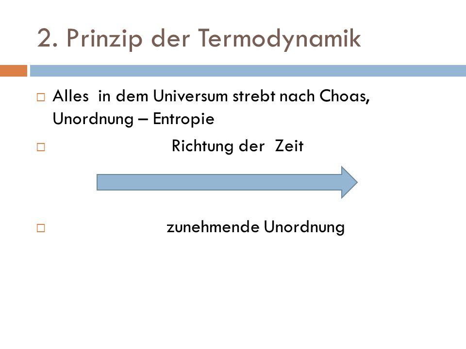 2. Prinzip der Termodynamik Alles in dem Universum strebt nach Choas, Unordnung – Entropie Richtung der Zeit zunehmende Unordnung
