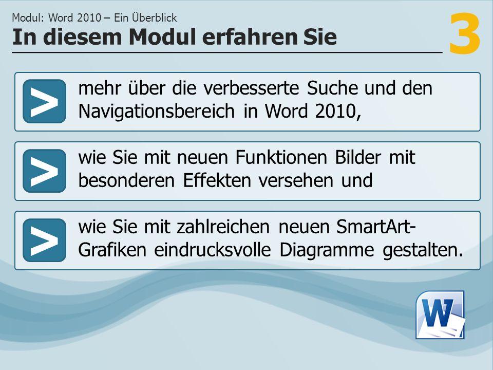 3 >> wie Sie mit neuen Funktionen Bilder mit besonderen Effekten versehen und wie Sie mit zahlreichen neuen SmartArt- Grafiken eindrucksvolle Diagramme gestalten.