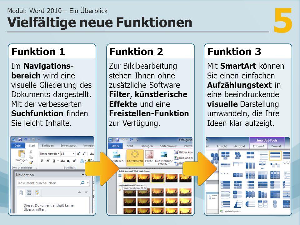 5 Funktion 1 Im Navigations- bereich wird eine visuelle Gliederung des Dokuments dargestellt.