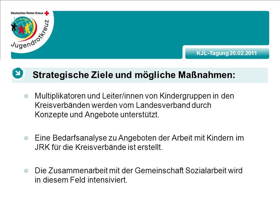 KJL-Tagung 20.02.2011 Multiplikatoren und Leiter/innen von Kindergruppen in den Kreisverbänden werden vom Landesverband durch Konzepte und Angebote unterstützt.