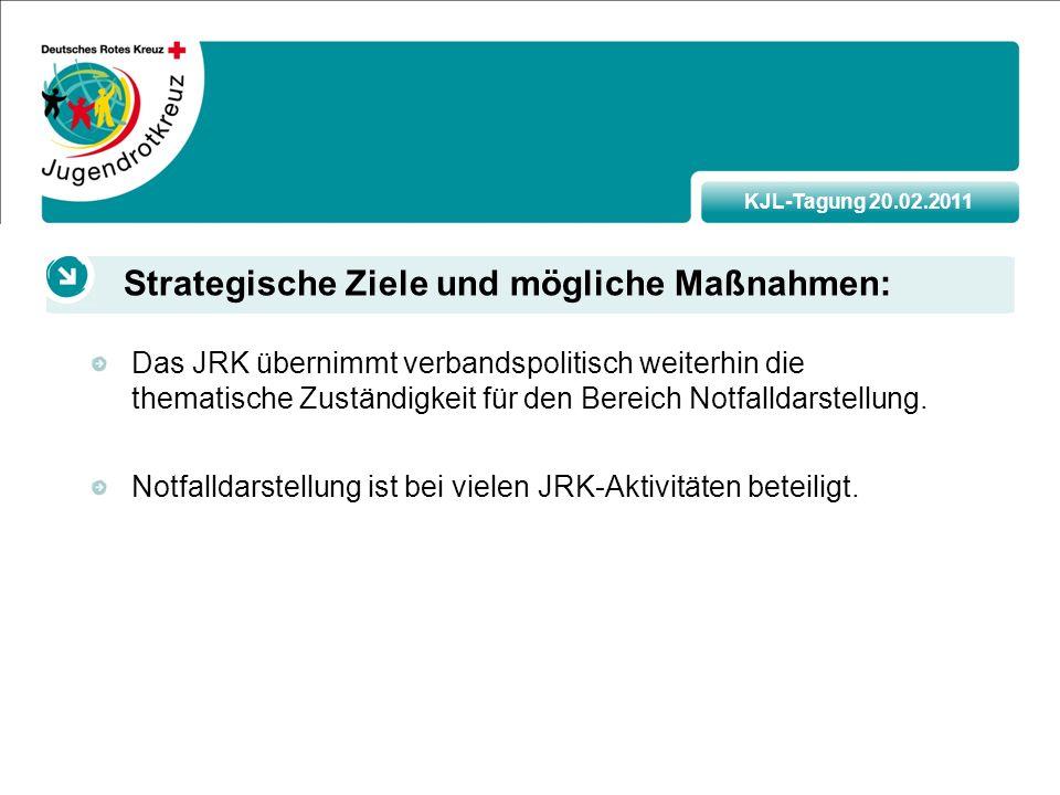 KJL-Tagung 20.02.2011 Das JRK übernimmt verbandspolitisch weiterhin die thematische Zuständigkeit für den Bereich Notfalldarstellung.