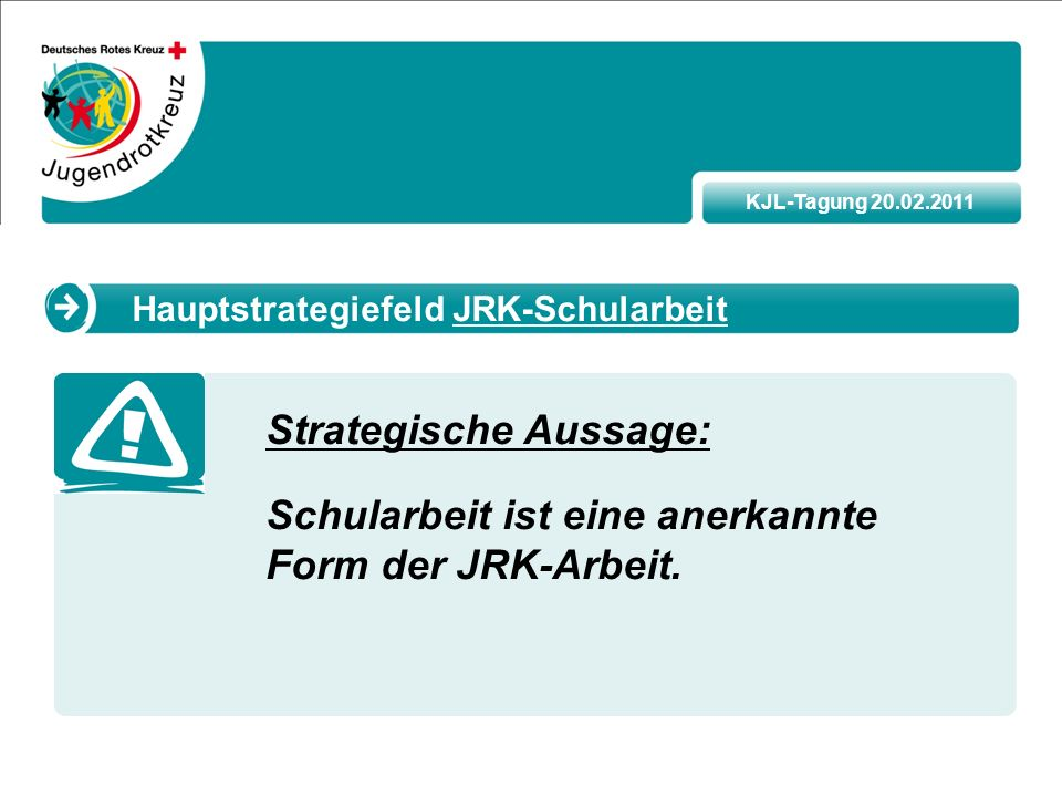 KJL-Tagung 20.02.2011 Strategische Aussage: Schularbeit ist eine anerkannte Form der JRK-Arbeit.
