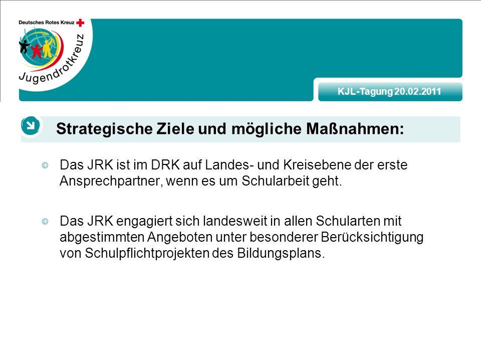 KJL-Tagung 20.02.2011 Das JRK ist im DRK auf Landes- und Kreisebene der erste Ansprechpartner, wenn es um Schularbeit geht.