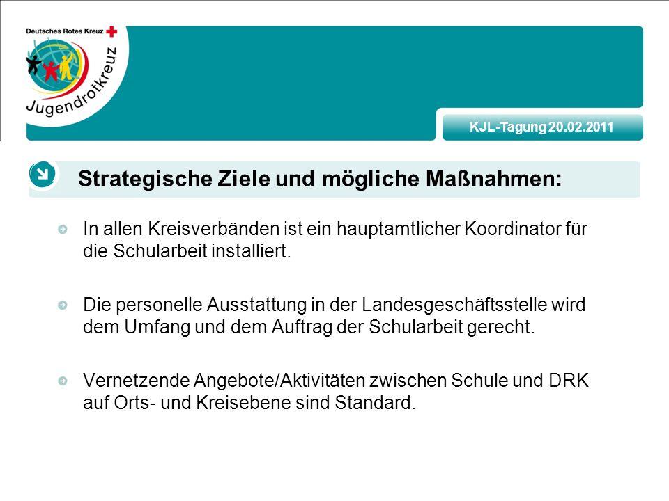 KJL-Tagung 20.02.2011 In allen Kreisverbänden ist ein hauptamtlicher Koordinator für die Schularbeit installiert.