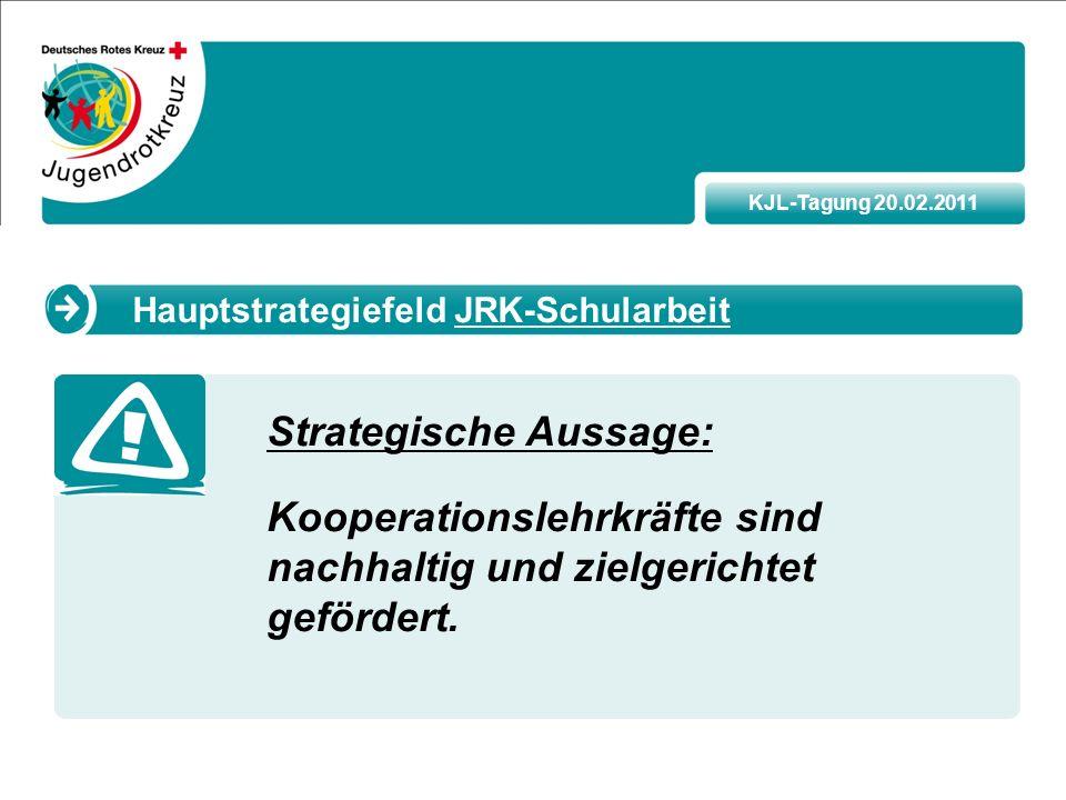 KJL-Tagung 20.02.2011 Strategische Aussage: Kooperationslehrkräfte sind nachhaltig und zielgerichtet gefördert.