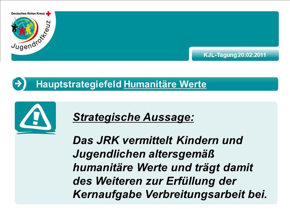 KJL-Tagung 20.02.2011 Strategische Aussage: Das JRK vermittelt Kindern und Jugendlichen altersgemäß humanitäre Werte und trägt damit des Weiteren zur Erfüllung der Kernaufgabe Verbreitungsarbeit bei.