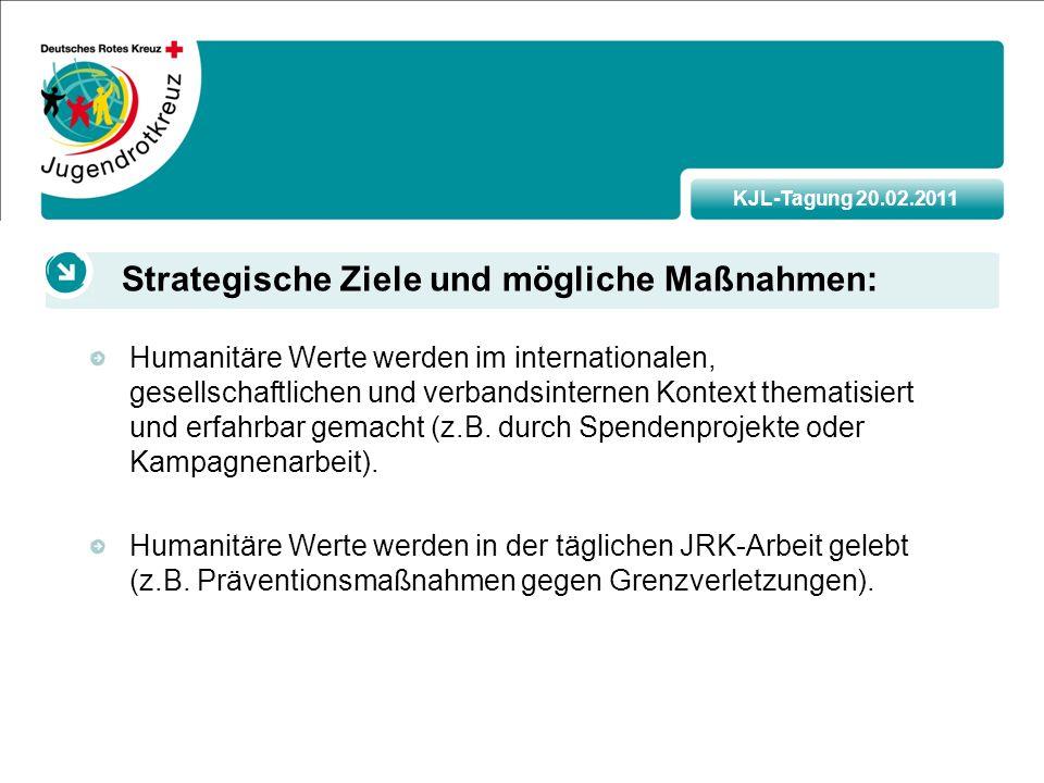 KJL-Tagung 20.02.2011 Humanitäre Werte werden im internationalen, gesellschaftlichen und verbandsinternen Kontext thematisiert und erfahrbar gemacht (z.B.