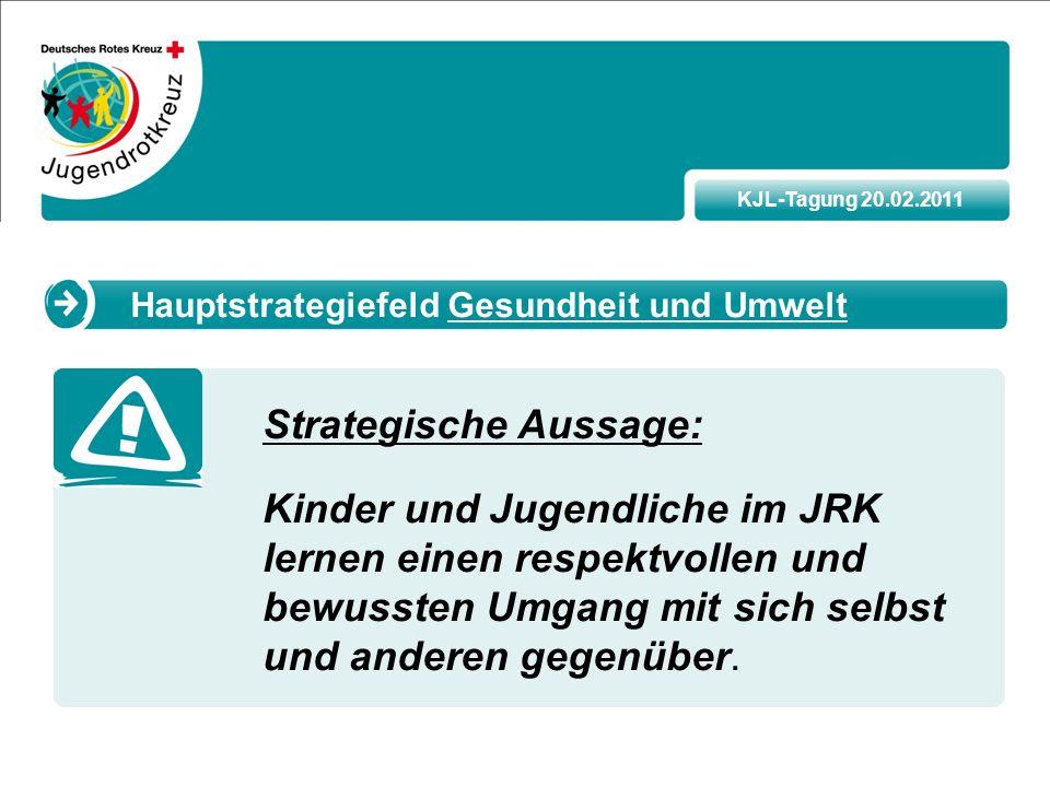 KJL-Tagung 20.02.2011 Strategische Aussage: Kinder und Jugendliche im JRK lernen einen respektvollen und bewussten Umgang mit sich selbst und anderen gegenüber.