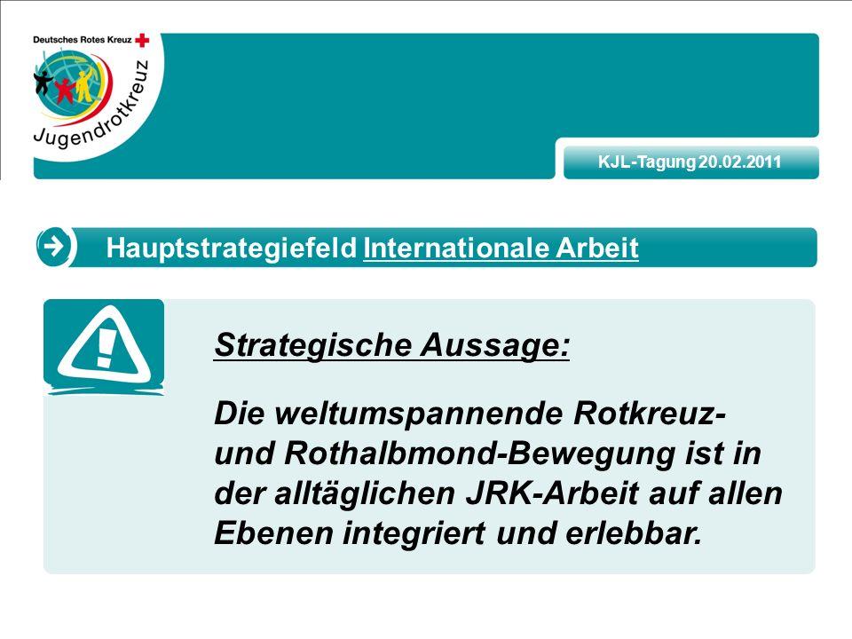 KJL-Tagung 20.02.2011 Strategische Aussage: Die weltumspannende Rotkreuz- und Rothalbmond-Bewegung ist in der alltäglichen JRK-Arbeit auf allen Ebenen integriert und erlebbar.