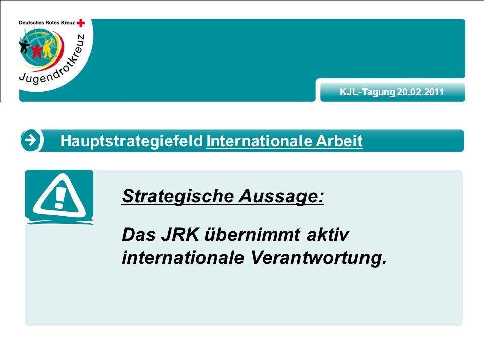 KJL-Tagung 20.02.2011 Strategische Aussage: Das JRK übernimmt aktiv internationale Verantwortung.
