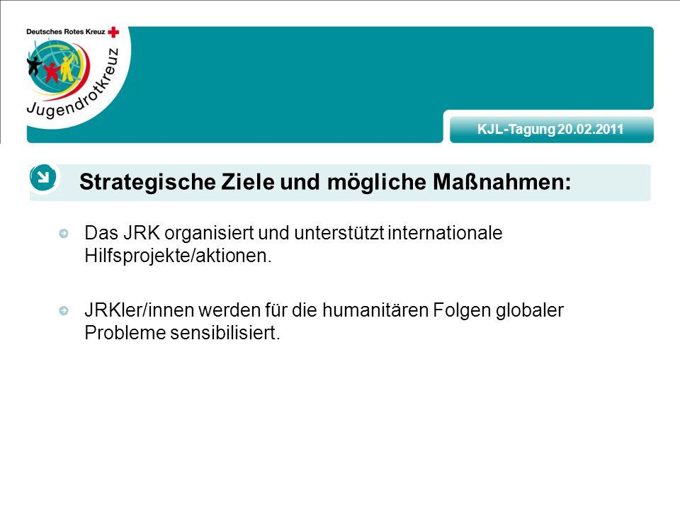 KJL-Tagung 20.02.2011 Das JRK organisiert und unterstützt internationale Hilfsprojekte/aktionen.