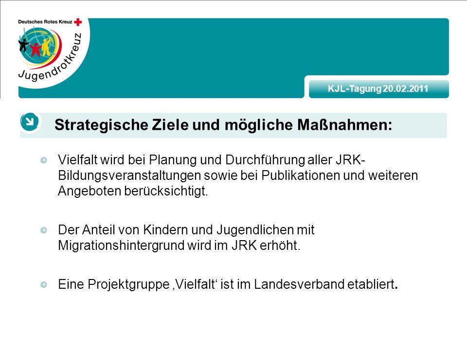 KJL-Tagung 20.02.2011 Vielfalt wird bei Planung und Durchführung aller JRK- Bildungsveranstaltungen sowie bei Publikationen und weiteren Angeboten berücksichtigt.