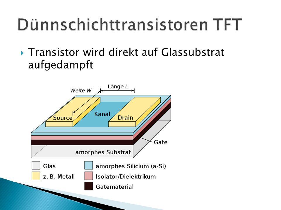 Transistor wird direkt auf Glassubstrat aufgedampft