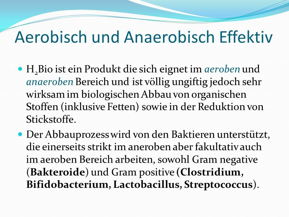 Aerobisch und Anaerobisch Effektiv H 2 Bio ist ein Produkt die sich eignet im aeroben und anaeroben Bereich und ist völlig ungiftig jedoch sehr wirksa