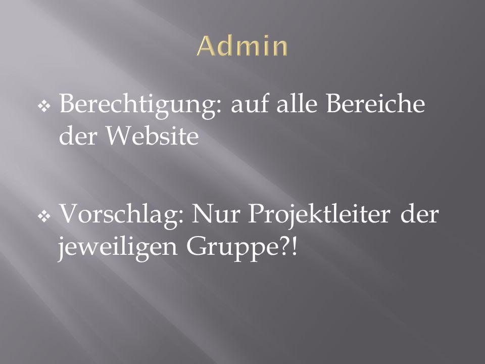 Berechtigung: auf alle Bereiche der Website Vorschlag: Nur Projektleiter der jeweiligen Gruppe?!