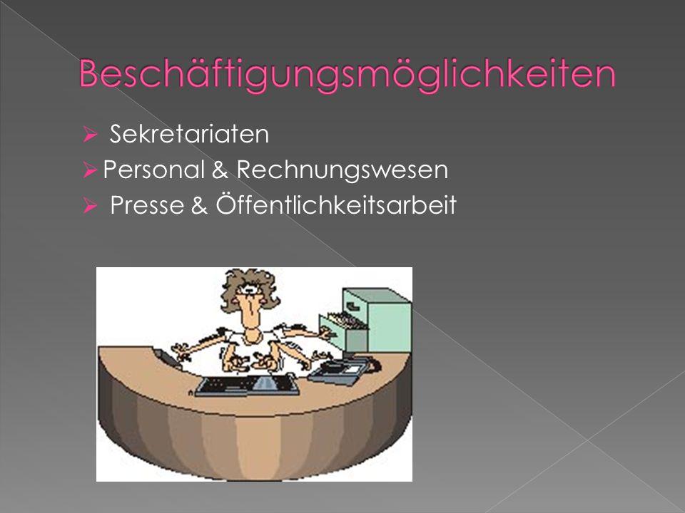Sekretariaten Personal & Rechnungswesen Presse & Öffentlichkeitsarbeit