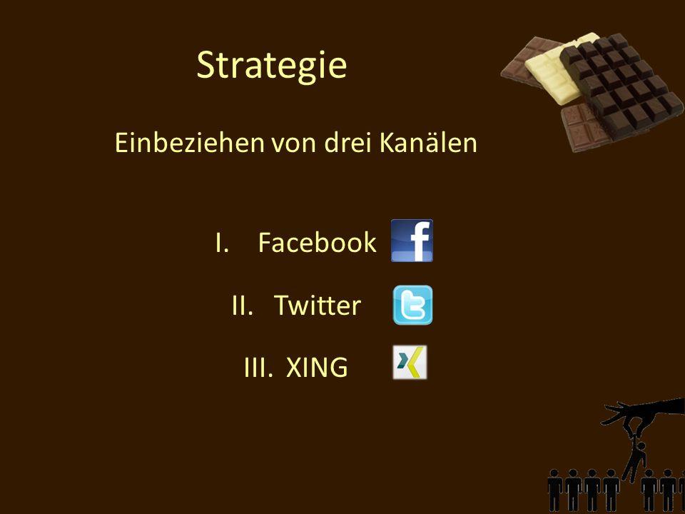 Strategie Einbeziehen von drei Kanälen I.Facebook II.Twitter III.XING