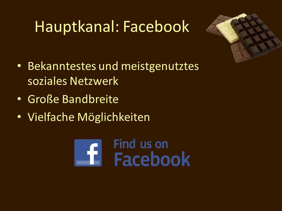 Hauptkanal: Facebook Bekanntestes und meistgenutztes soziales Netzwerk Große Bandbreite Vielfache Möglichkeiten