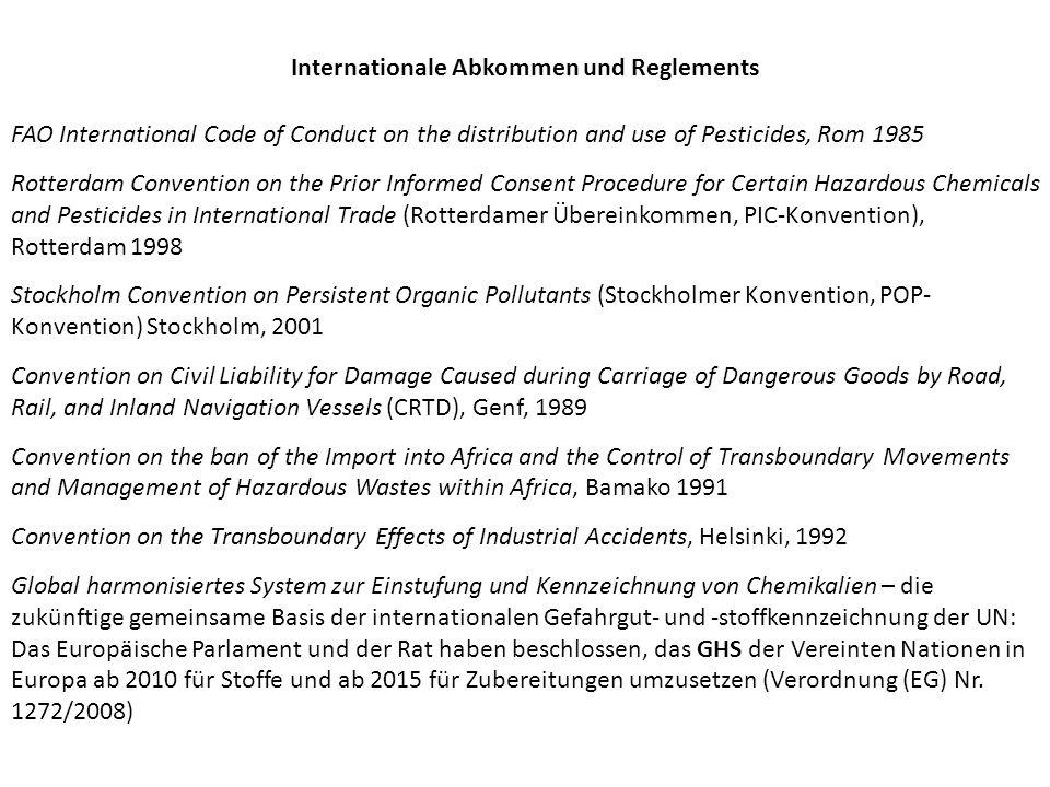 EU Richtlinie 96/82/EG zur Beherrschung der Gefahren bei schweren Unfällen mit gefährlichen Stoffen (Seveso-II-Richtlinie), betreffend Umweltschutz in Verbindung mit den Produktionsstätten Richtlinie 1999/45/EG über Verpackung und Kennzeichnung gefährlicher Zubereitungen (Zubereitungsrichtlinie) Die Richtlinie ist außer Kraft durch folgende VO.