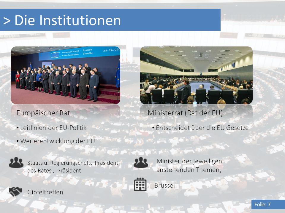 > Die Institutionen Folie: 7 Europäischer Rat Staats u. Regierungschefs, Präsident des Rates, Präsident Leitlinien der EU-Politik Weiterentwicklung de