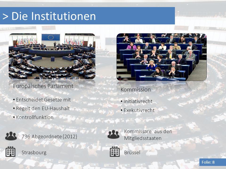 > Die Institutionen Folie: 8 Europäisches Parlament 736 Abgeordnete (2012) Entscheidet Gesetze mit Regelt den EU-Haushalt Kommission Initiativrecht Ko