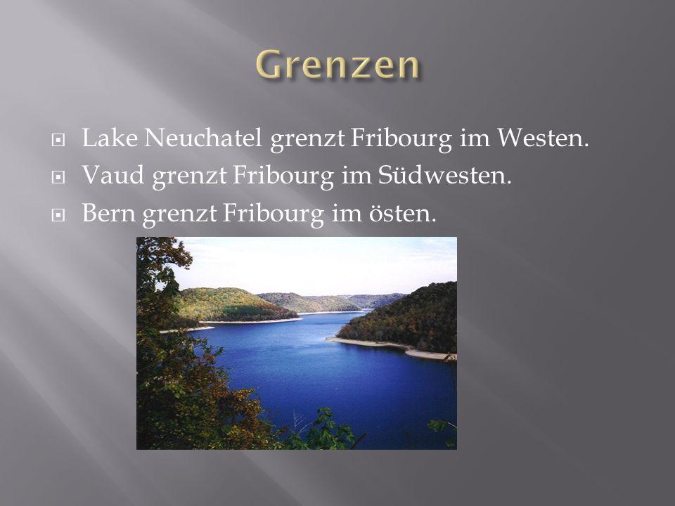 Lake Neuchatel grenzt Fribourg im Westen. Vaud grenzt Fribourg im Südwesten.
