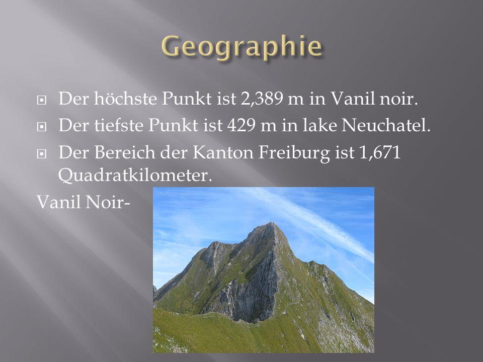 Der höchste Punkt ist 2,389 m in Vanil noir. Der tiefste Punkt ist 429 m in lake Neuchatel.