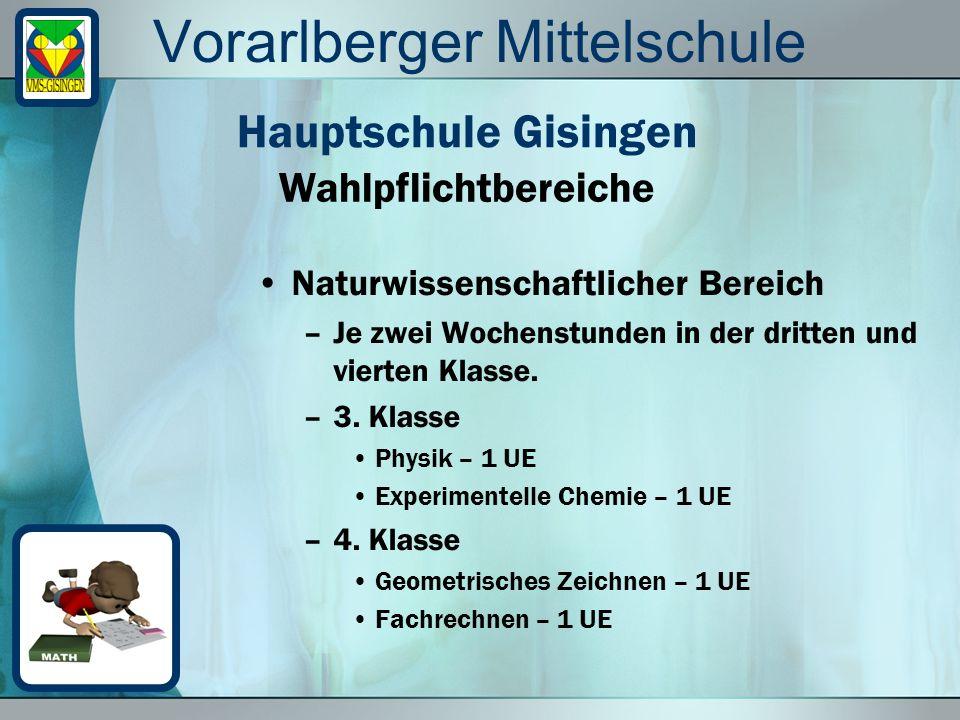 Vorarlberger Mittelschule Naturwissenschaftlicher Bereich –Je zwei Wochenstunden in der dritten und vierten Klasse. –3. Klasse Physik – 1 UE Experimen