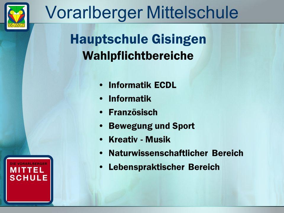 Vorarlberger Mittelschule Informatik ECDL Informatik Französisch Bewegung und Sport Kreativ - Musik Naturwissenschaftlicher Bereich Lebenspraktischer