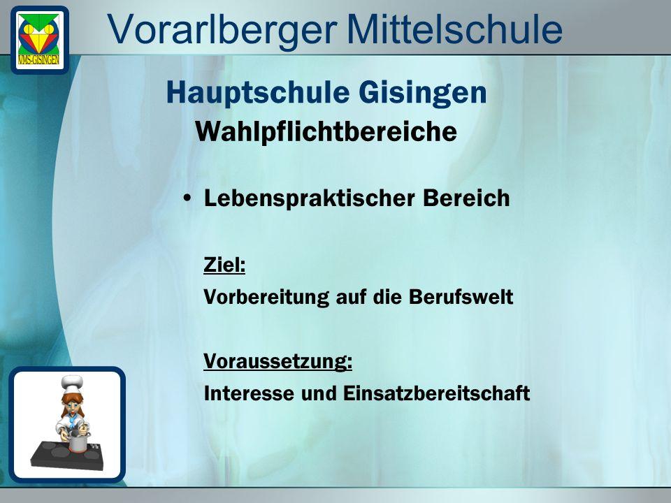 Vorarlberger Mittelschule Lebenspraktischer Bereich Ziel: Vorbereitung auf die Berufswelt Voraussetzung: Interesse und Einsatzbereitschaft Wahlpflicht