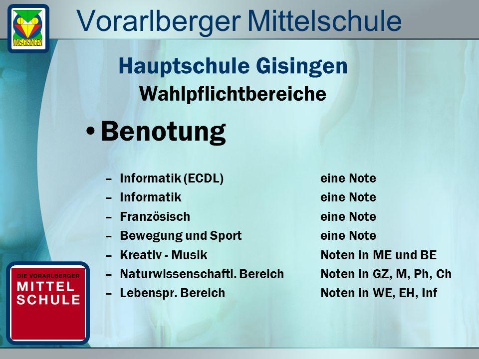 Vorarlberger Mittelschule Benotung –Informatik (ECDL)eine Note –Informatikeine Note –Französischeine Note –Bewegung und Sport eine Note –Kreativ - Mus