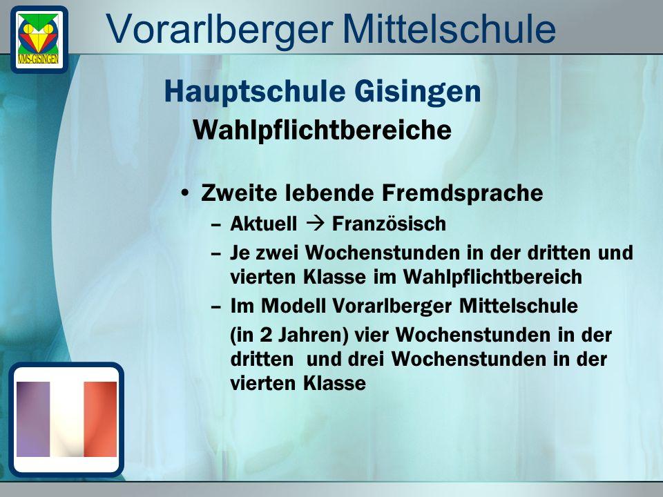 Vorarlberger Mittelschule Zweite lebende Fremdsprache –Aktuell Französisch –Je zwei Wochenstunden in der dritten und vierten Klasse im Wahlpflichtbere