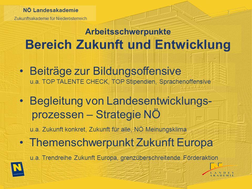 NÖ Landesakademie Zukunftsakademie für Niederösterreich Arbeitsschwerpunkte Bereich Zukunft und Entwicklung Beiträge zur Bildungsoffensive u.a.