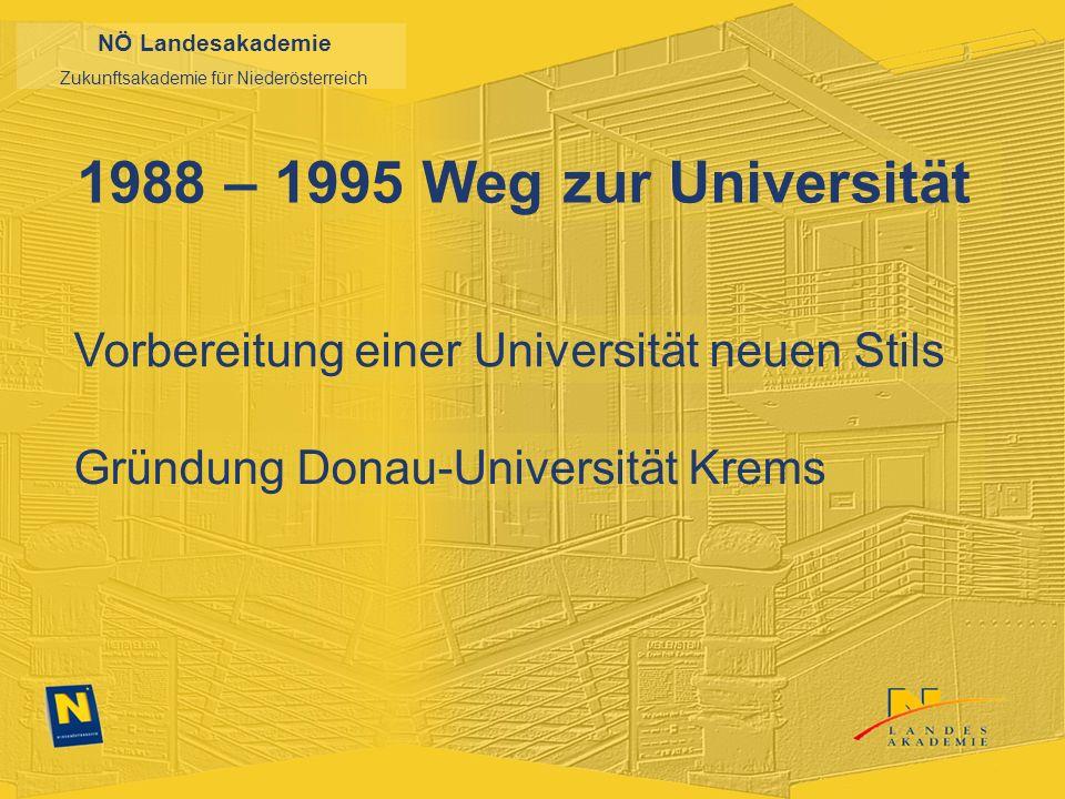 NÖ Landesakademie Zukunftsakademie für Niederösterreich 1988 – 1995 Weg zur Universität Vorbereitung einer Universität neuen Stils Gründung Donau-Universität Krems