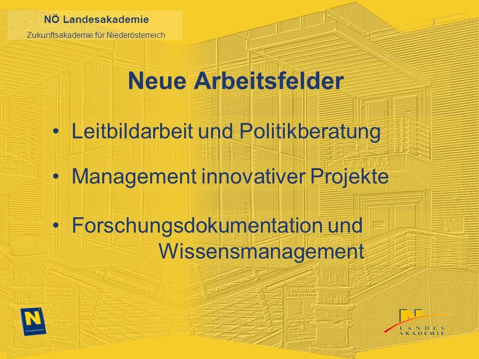 NÖ Landesakademie Zukunftsakademie für Niederösterreich Neue Arbeitsfelder Leitbildarbeit und Politikberatung Management innovativer Projekte Forschungsdokumentation und Wissensmanagement