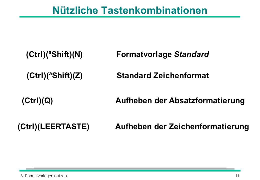 3. Formatvorlagen nutzen11 Nützliche Tastenkombinationen (Ctrl)(ªShift)(N) (Ctrl)(Q) (Ctrl)(LEERTASTE) Aufheben der Absatzformatierung Formatvorlage S